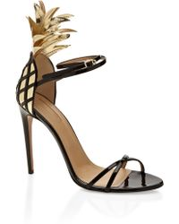 Aquazzura Gold and Black Pina Colada Sandal - Lyst