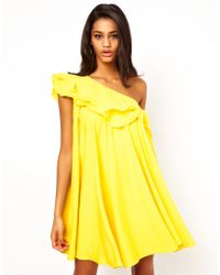 ASOS Collection | One Shoulder Ruffle Shift Dress | Lyst