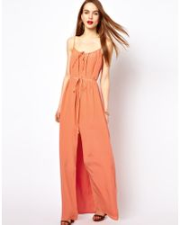 French Connection Silk Maxi Dress with Thigh Split - Lyst