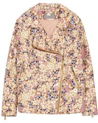 Mulberry Oversized Printed Leather Biker Jacket - Lyst