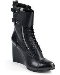 CoSTUME NATIONAL - Bridge Laceup Wedge Ankle Boots - Lyst