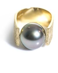 DINA KAMAL DK01 - Grey Pearl and Gold Pinky Ring - Lyst