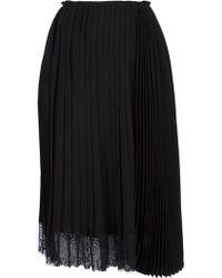 Haider Ackermann Pleated Lace Trim Skirt - Lyst