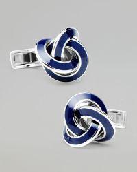 Ravi Ratan - Enamel Silver Knot Cuff Links - Lyst