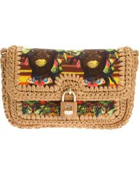 Dolce & Gabbana Printed Raffia Shoulder Bag - Lyst