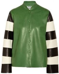 Acne Studios Valentine Striped Dleeve Leather Jacket - Lyst