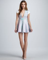 Pencey - Plunging Printed Flare Dress - Lyst