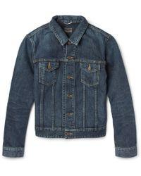 Saint Laurent Embellished Denim Jacket - Lyst