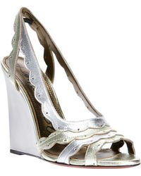 Lanvin Metallic Wedge Sandals - Lyst