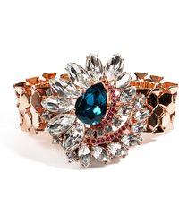 Mawi - Rose Goldplated Flower Embellished Watchstrap Bracelet in Blue - Lyst