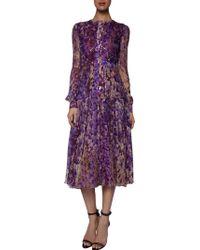 J. Mendel Wisteria Print Long Sleeve Cut Out Back Dress - Lyst
