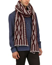 Les Hommes - Over Knit Losanghe Two Tone Scarf - Lyst