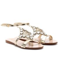 Miu Miu Leather Sandals with Embellishment - Lyst