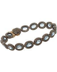 Munnu - Diamond Aquamarine Indorussian Oval Link Bracelet - Lyst