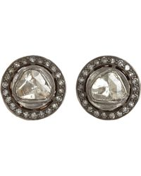 Munnu - Rose Round Cut Diamond Stud Earrings - Lyst