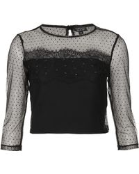 Topshop Sequin Lace 12 Sleeve Top - Lyst