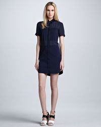 Theory Luxe Crepe Shirt-Dress - Lyst