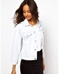 ASOS Collection Cropped Denim Boyfriend Jacket in Bleach Wash - Lyst