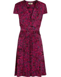 Issa Crossover Printed Silk Jersey Dress - Lyst
