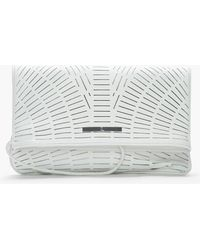 McQ by Alexander McQueen Ivory Slashed Leather Foldover Clutch - Lyst