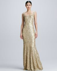 David Meister Sleeveless Gown with Lace Overlay - Lyst