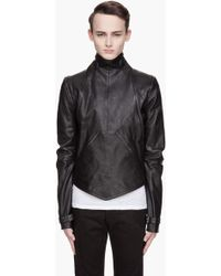 Gareth Pugh Black Leather Zippered Removable Sleeve Bib Jacket - Lyst