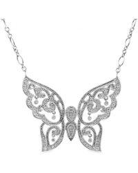Stone - 18kt White Gold Baiser Papillon Necklace with White Pavé Diamonds - Lyst