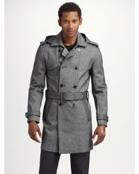 7 For All Mankind - Coated Tweed Trench - Lyst