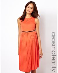 Asos Maternity Pleated Midi Dress with Belt - Lyst