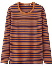 Uniqlo Men Striped Crew Neck Long Sleeve Tshirt - Lyst