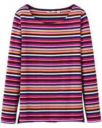 Uniqlo Women Striped Boat Neck Long Sleeve Tshirt C - Lyst
