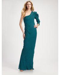 Alberta Ferretti Asymmetrical Crinkled Silk Long Dress - Lyst