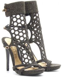 Alexander McQueen Perforated Stiletto Sandals with Glitter - Lyst