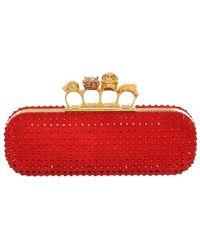 Alexander McQueen Crystal Silk Knuckle Box Clutch - Lyst