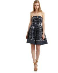 Alexia Admor Strapless Polka Dot Pleated Cocktail Dress - Lyst
