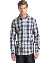Blue Saks Fifth Avenue - Plaid Shirt - Lyst