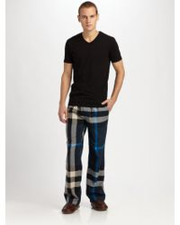 Burberry - Checked Cotton Lounge Trousers - Lyst