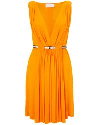 David Szeto Tangerine Belted Pleat Dress - Lyst