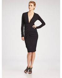 Donna Karan New York Draped Vneck Long Sleeve Dress - Lyst