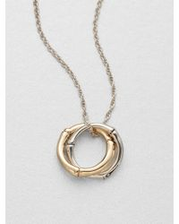 John Hardy 18K Yellow Gold & Sterling Silver Small Interlocking Ring Pendant Necklace - Lyst