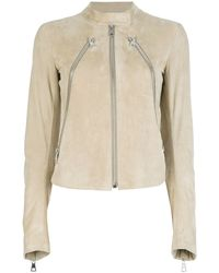 Maison Margiela Three Zip Leather Lambskin Jacket beige - Lyst