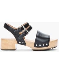 Marc By Marc Jacobs Black Leather Heavy Wooden Sandal Clogs - Lyst