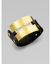 McQ by Alexander McQueen Leather Razor Cuff Bracelet - Lyst