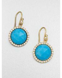 Mija - Turquoise & White Sapphire Button Drop Earrings - Lyst