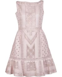 Valentino Stretch Lace Dress pink - Lyst