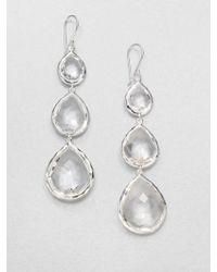 Ippolita Rock Candy Clear Quartz & Sterling Silver Triple-Teardrop Earrings