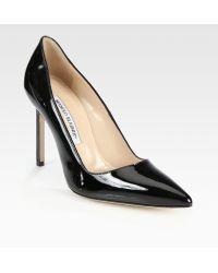 Manolo Blahnik Bb Patent Leather Point-Toe Pumps - Lyst