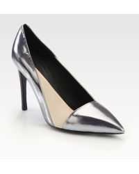 See By Chloé Metallic Leather Satin Pumps - Lyst