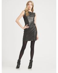 Theory Leather Combination Sheath Dress - Lyst