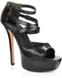 Alice + Olivia Laila Snakeskin Platform Sandals - Lyst